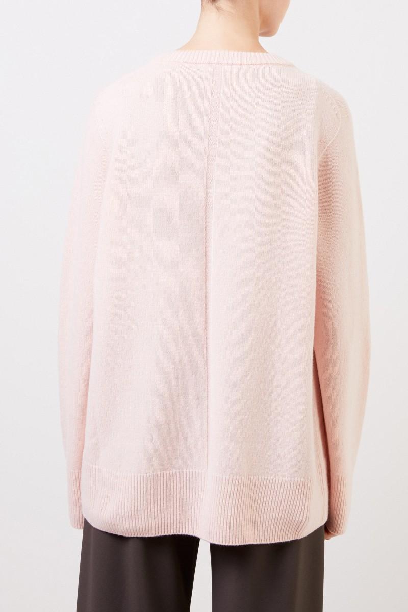 Woll-Cashmere-Pullover mit V-Neck 'Elaine' Rosé