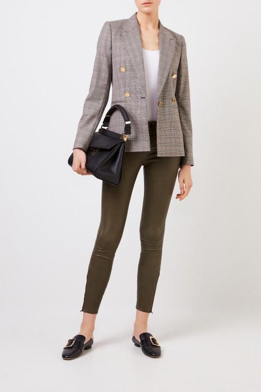 J Brand Lederhose mit Zipper-Details Khaki