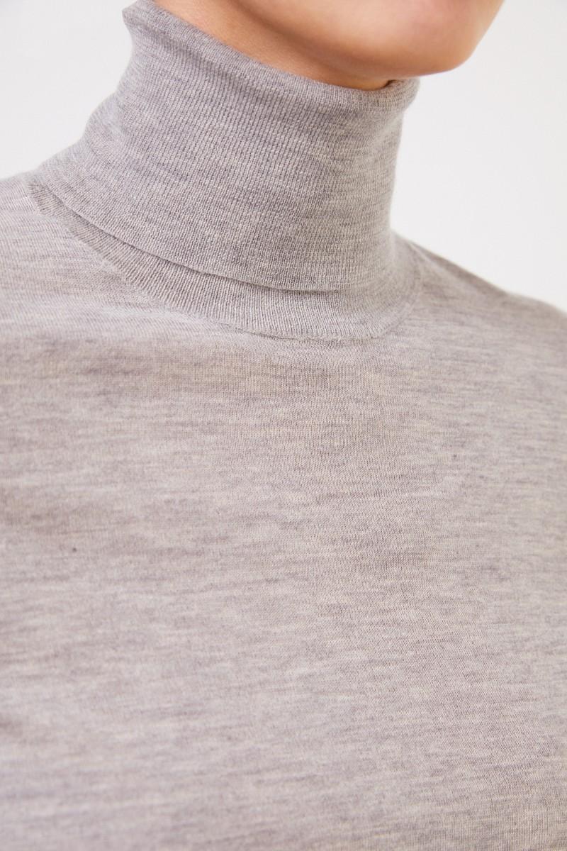 Co Feiner Cashmere-Pullover mit Turtleneck Hellgrau