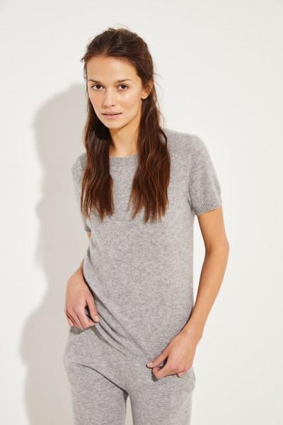 Kurzarm Cashmere-Pullover Grau