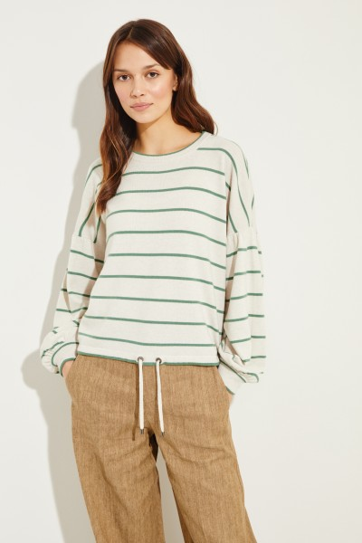 Brunello Cucinelli Wool cashmere jumper with stripes of cream/green