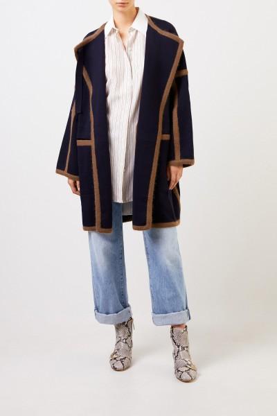 Wool coat with stripe details Dark Denim