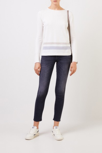 Fabiana Filippi Wool silk pullover with stripes White