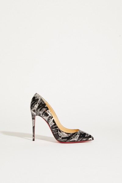 Pump 'Pigalle 100' with allover print black/white