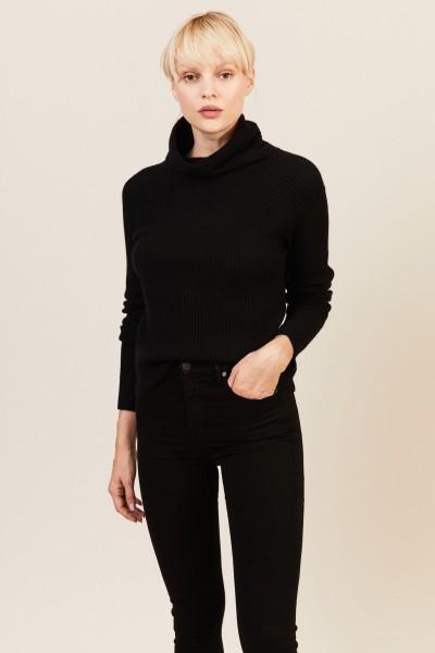Rippstrick Cashmere-Pullover Schwarz