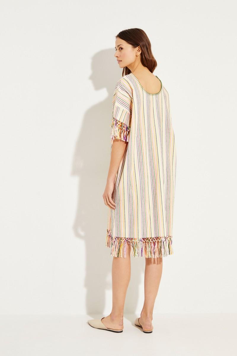 Midi-Kleid mit Streifenmuster 'Peyote' Crème/Multi