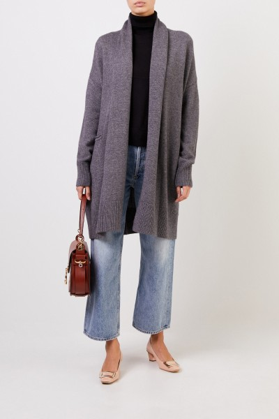 Wool cashmere knitted coat with belt Anthracite