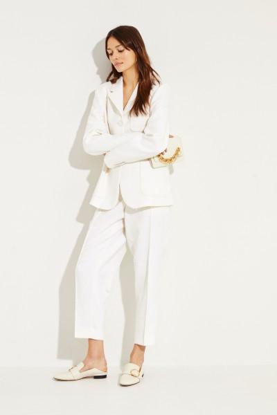 Bottega Veneta Structured pants with chain detail Creamy white