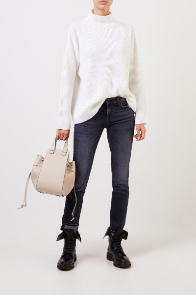 Wool sweater with sequins White