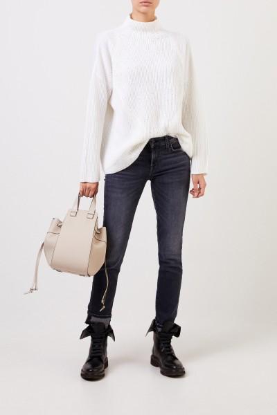 Woll-Pullover mit Pailletten Weiß/Crème