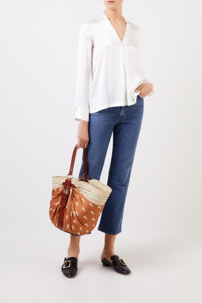 Silk blouse 'Bailey' with v-neck Cream