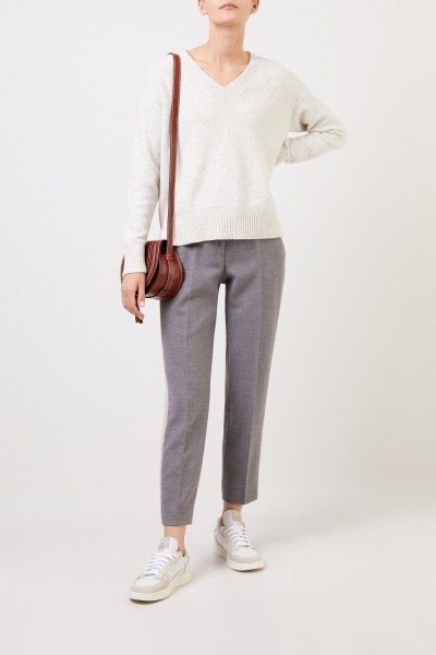 Cotton Sweater with V-Neck Light Grey Melange