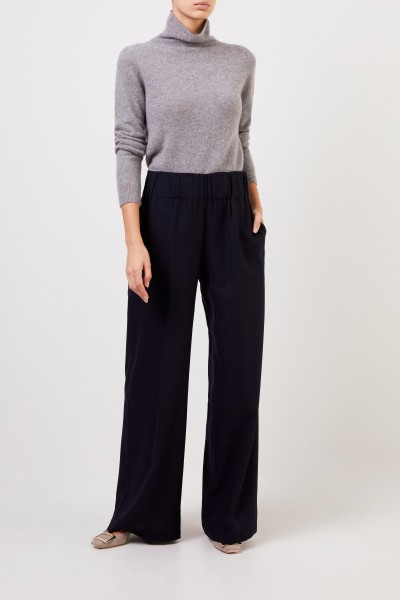 Wool trousers with wide leg Navy Blue