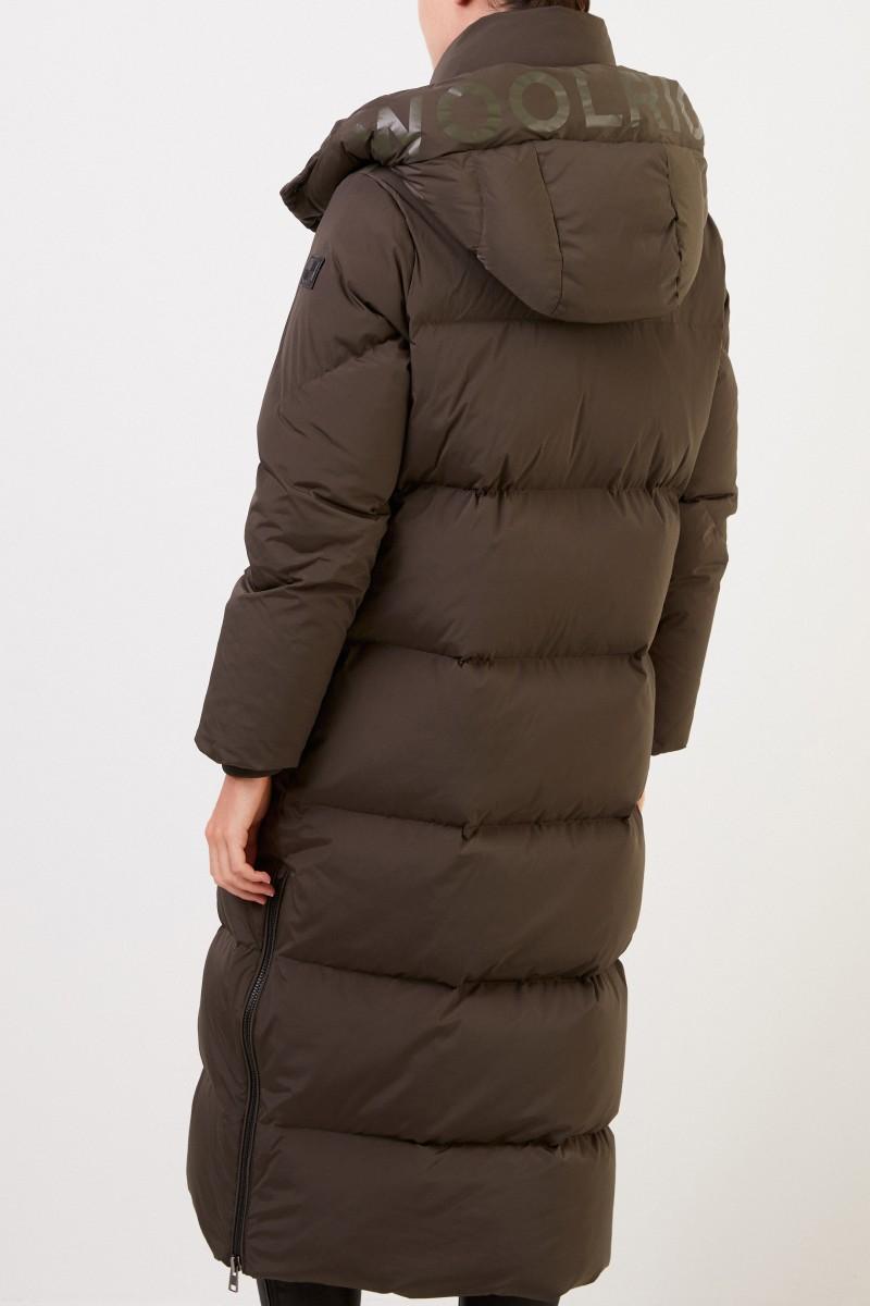 Woolrich Langer Daunenmantel 'Aurora' mit Kapuze Khaki