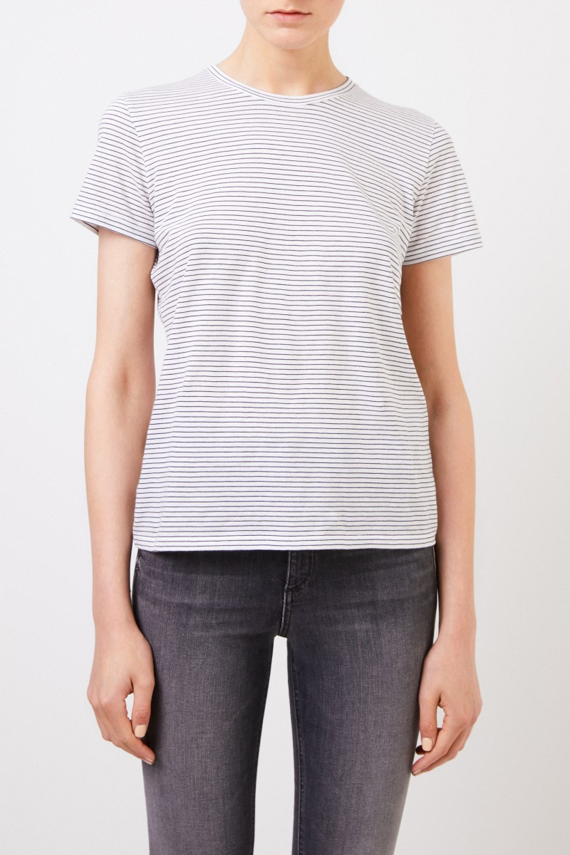 Vince Gestreiftes T-Shirt Weiß/Blau