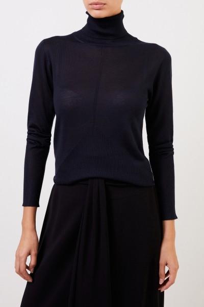 Lorena Antoniazzi Cashmere turtleneck sweater with rib details Navy Blue