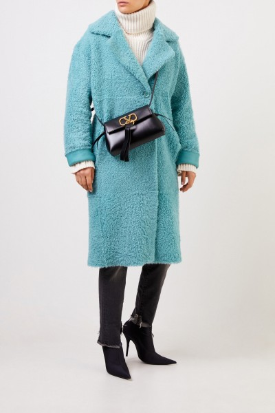 Furry Reversible lambskin coat Aqua