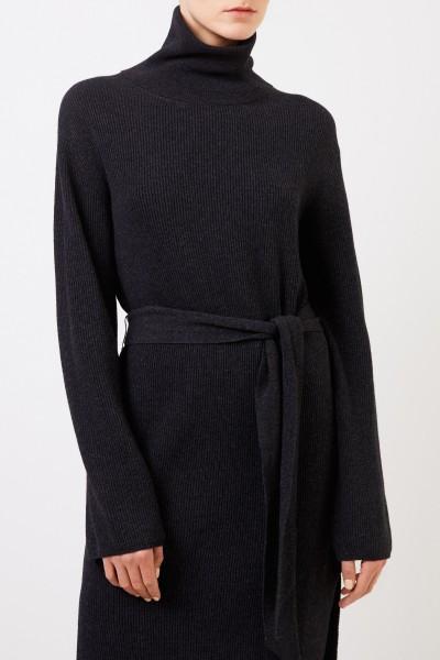 Nanushka Rib knit wool dress 'Canaan' with belt Anthracite