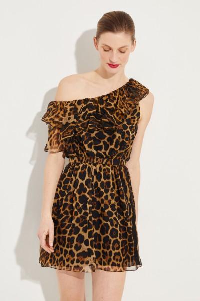 Seiden-Kleid mit Leoprint Multi