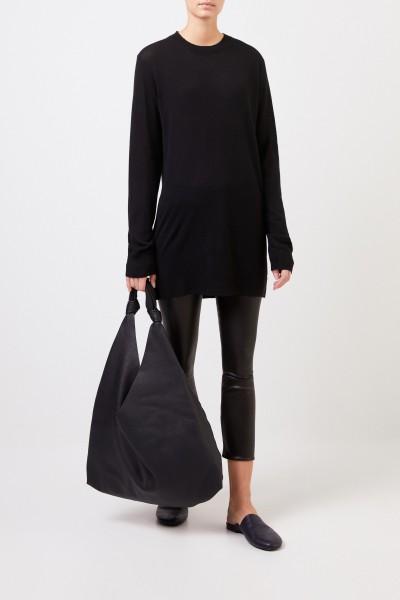 Langer Cashmere-Pullover Schwarz