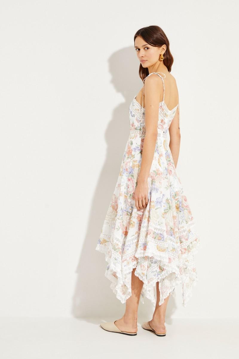 Langes Kleid mit asymmetrischem Saum Multi