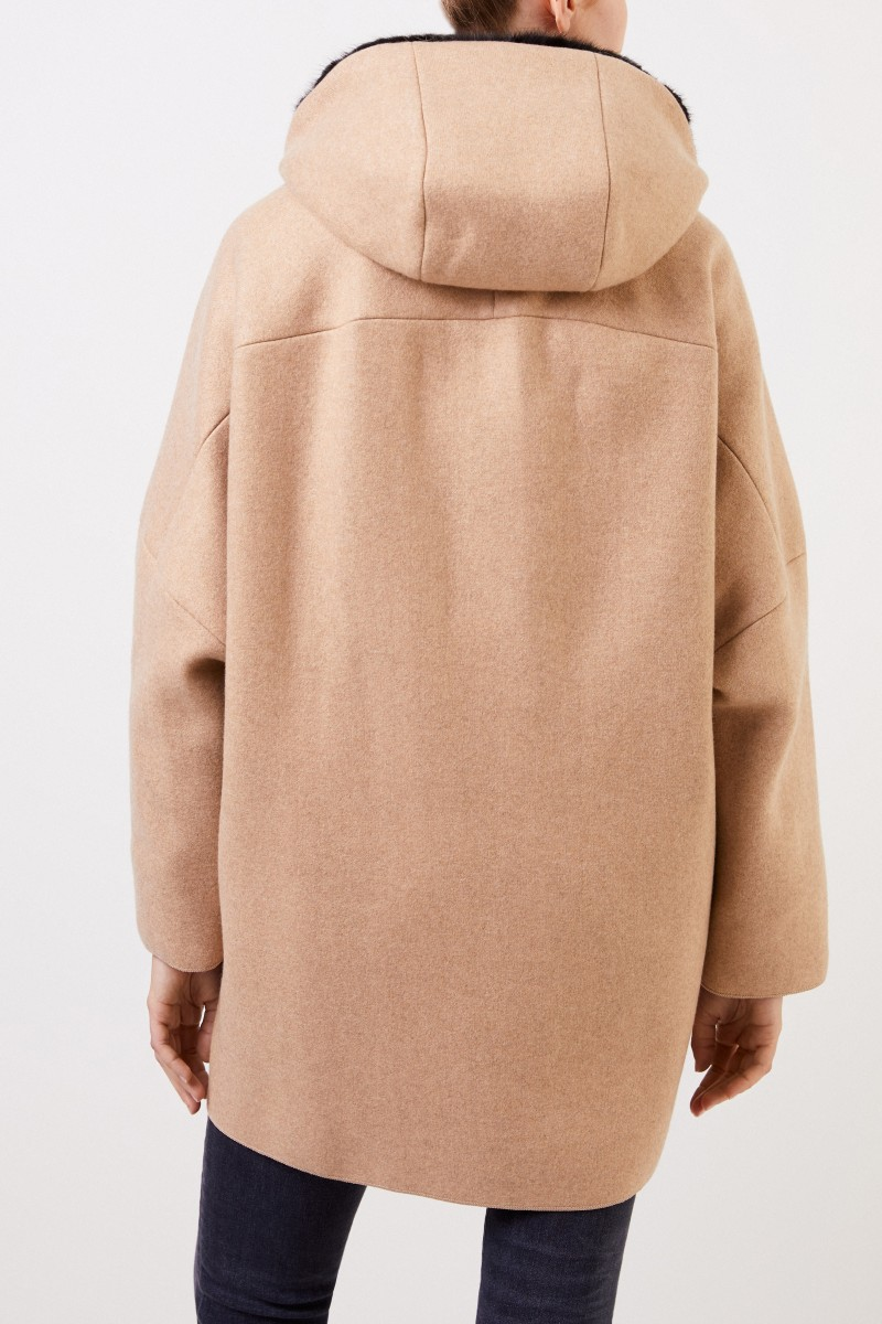 Agnona Cashmere-Mantel mit Nerz Camel/Schwarz