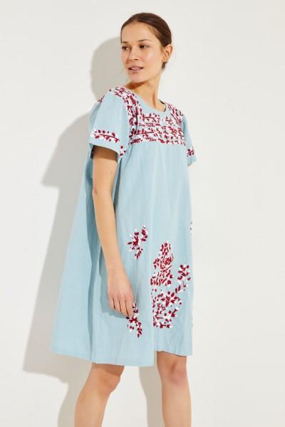 Baumwoll-Leinen-Kleid mit Stickerei 'San Pedro' Blau