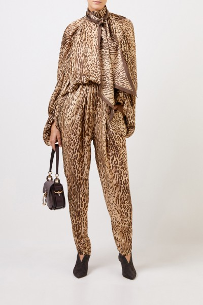 Silk jumpsuit with binding detail Brown
