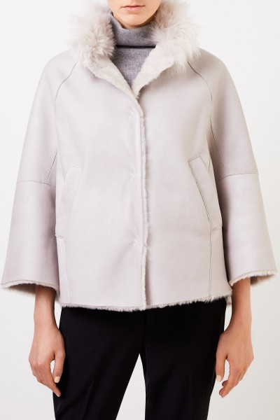 Manzoni 24 Lambskin jacket with cashmere collar Light Grey