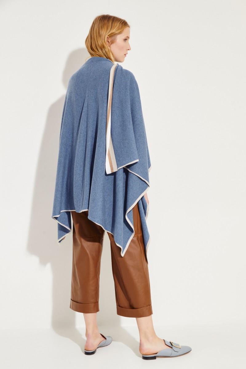 Cashmere-Poncho Blau/Beige