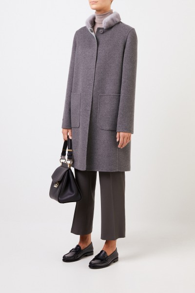 Cashmere wool coat with mink collar Grey