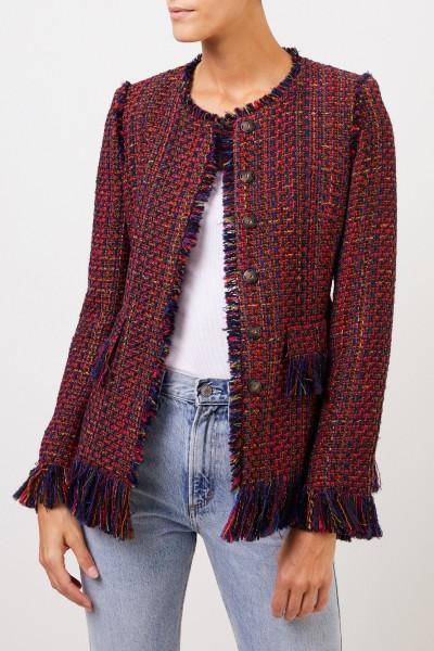NUSCO 2107 Tweed-Blazer mit Fransen Rot/Marineblau