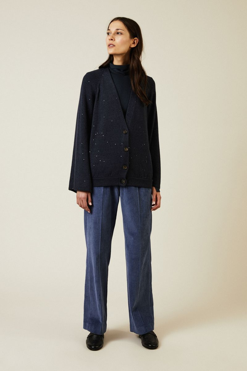 Cashmere-Seiden-Cardigan mit Paillettendetails Marineblau