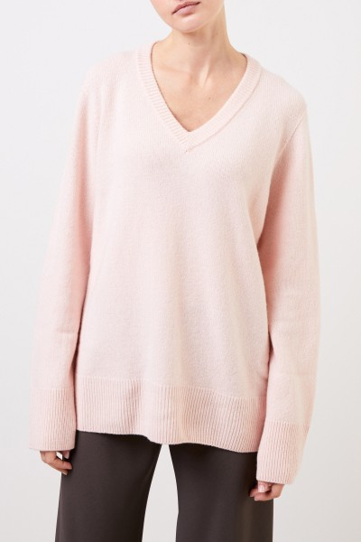 The Row Wool cashmere pullover with v-neck 'Elaine' Light Pink