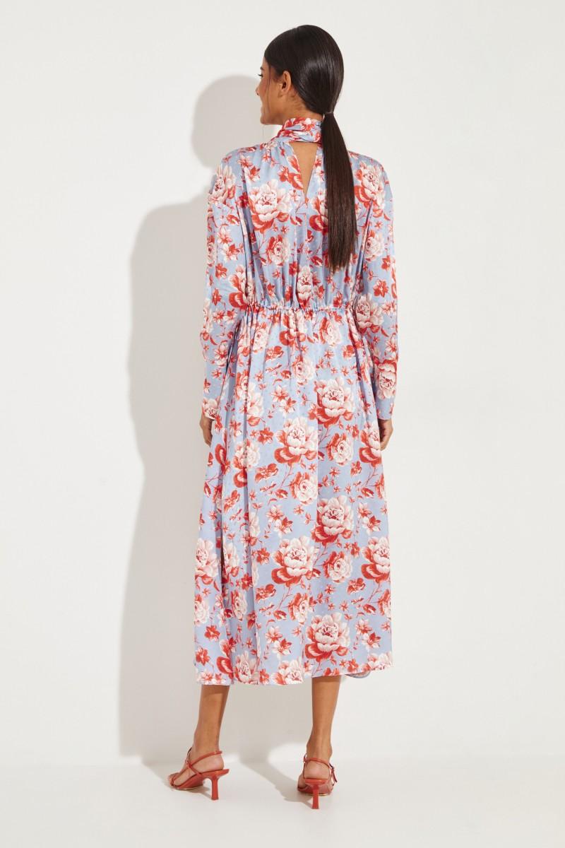Midi-Seidenkleid 'Viseu' mit floralem Print Multi