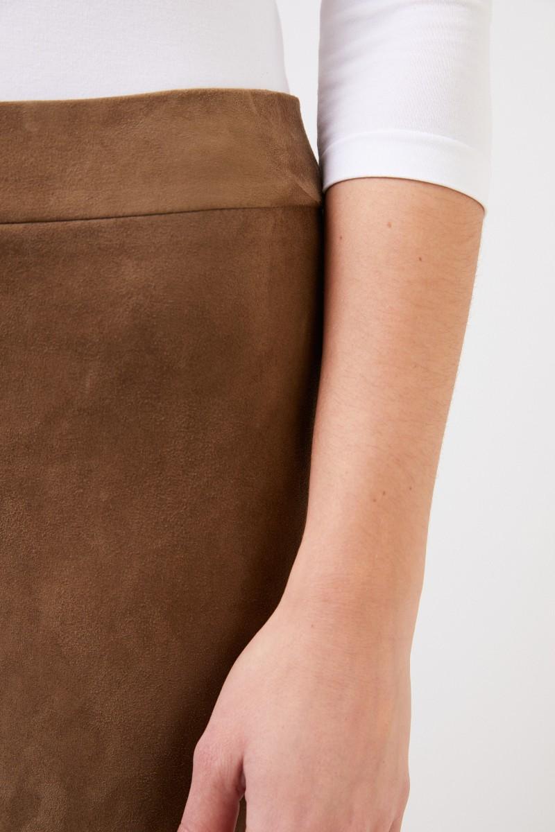 The Row Veloursleder Leggings 'Mino Pant' Taupe
