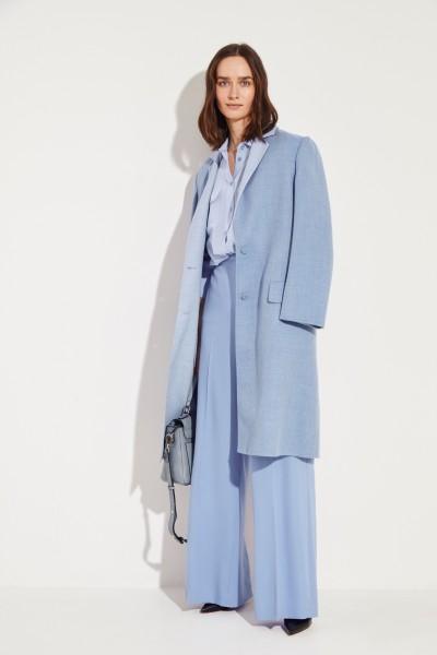 Seiden-Bluse 'Slim Signature' Blau