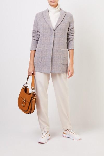 Fabiana Filippi Langer Woll-Blazer mit Karomuster Grau/Beige