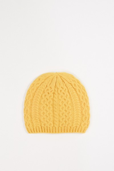 Uzwei Cashmere hat with cable stitch Yellow
