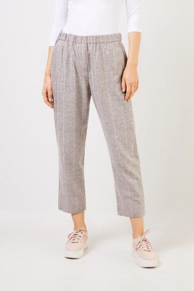 Fabiana Filippi Alpaca cotton trousers with elastic waistband Grey/White