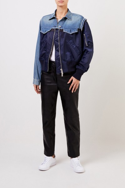 Sacai Jeans jacket with material mix Blue