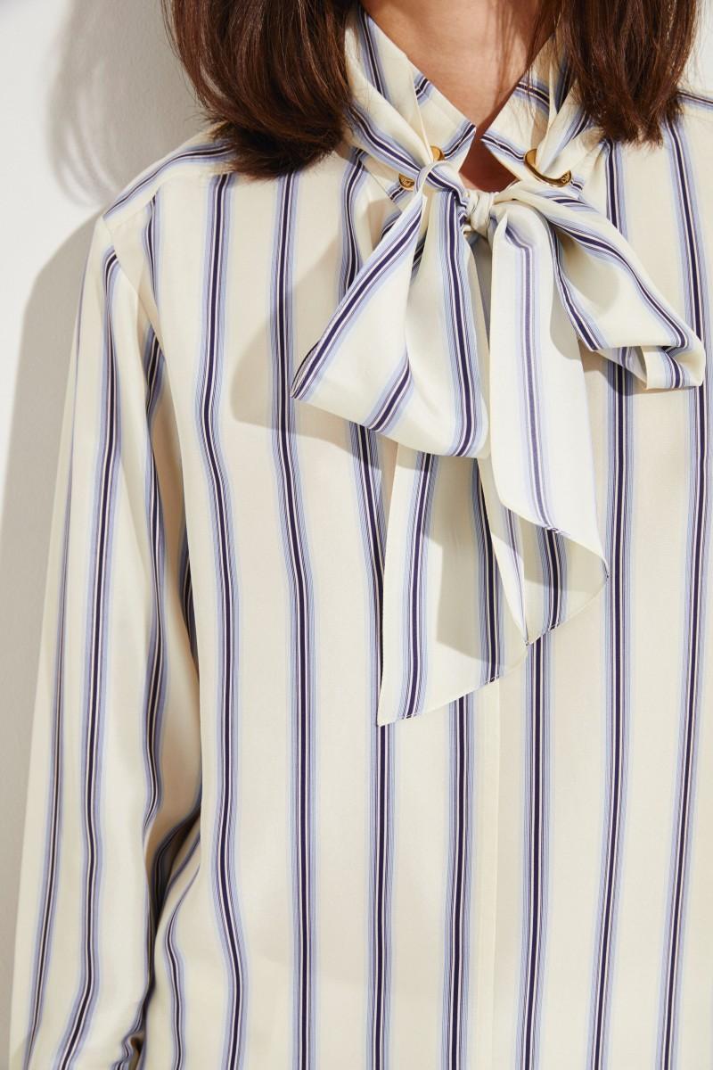 Gestreifte Seiden-Bluse Beige/Blau