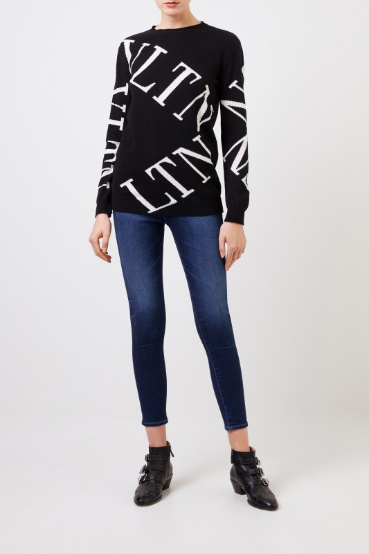 Valentino Woll-Cashmere-Pullover mit VLTN-Logo Schwarz/Weiß