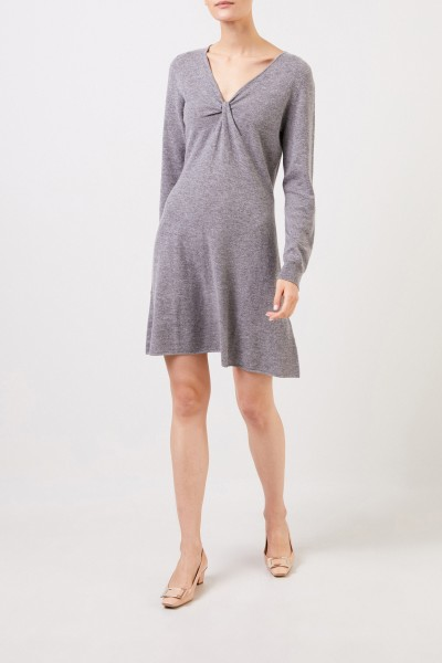 Allude Woll-Cashmere knitted dress with knot detail Grey
