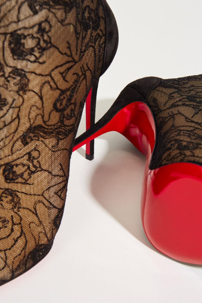 Stiefelette 'Psybootie' aus Netz und Spitze Schwarz