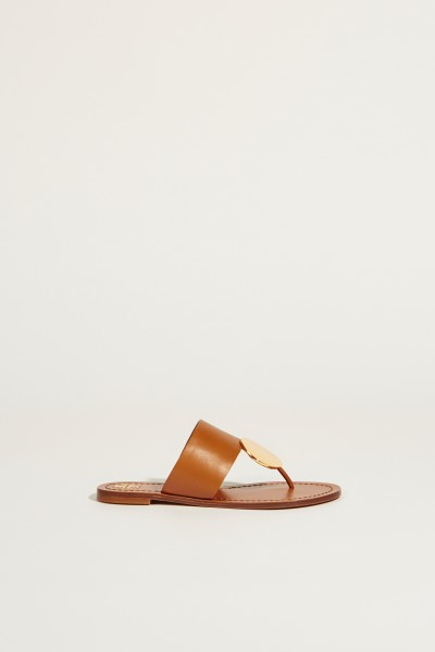 Leather sandal 'Patos Disk' with gold detail brown/gold