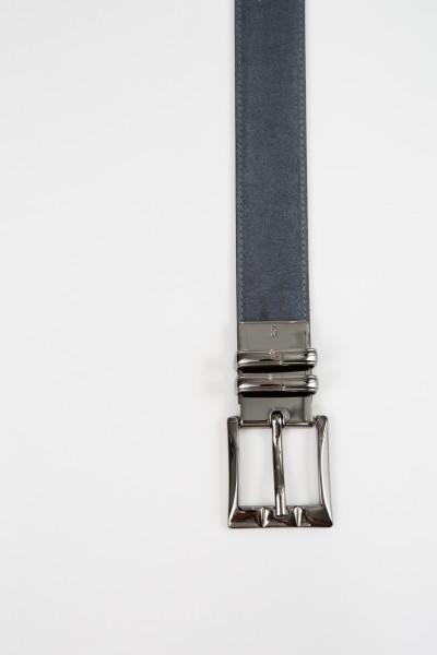Gräfin v. Lehndorff Leather belt in Verlours leather and leather Grey/Black