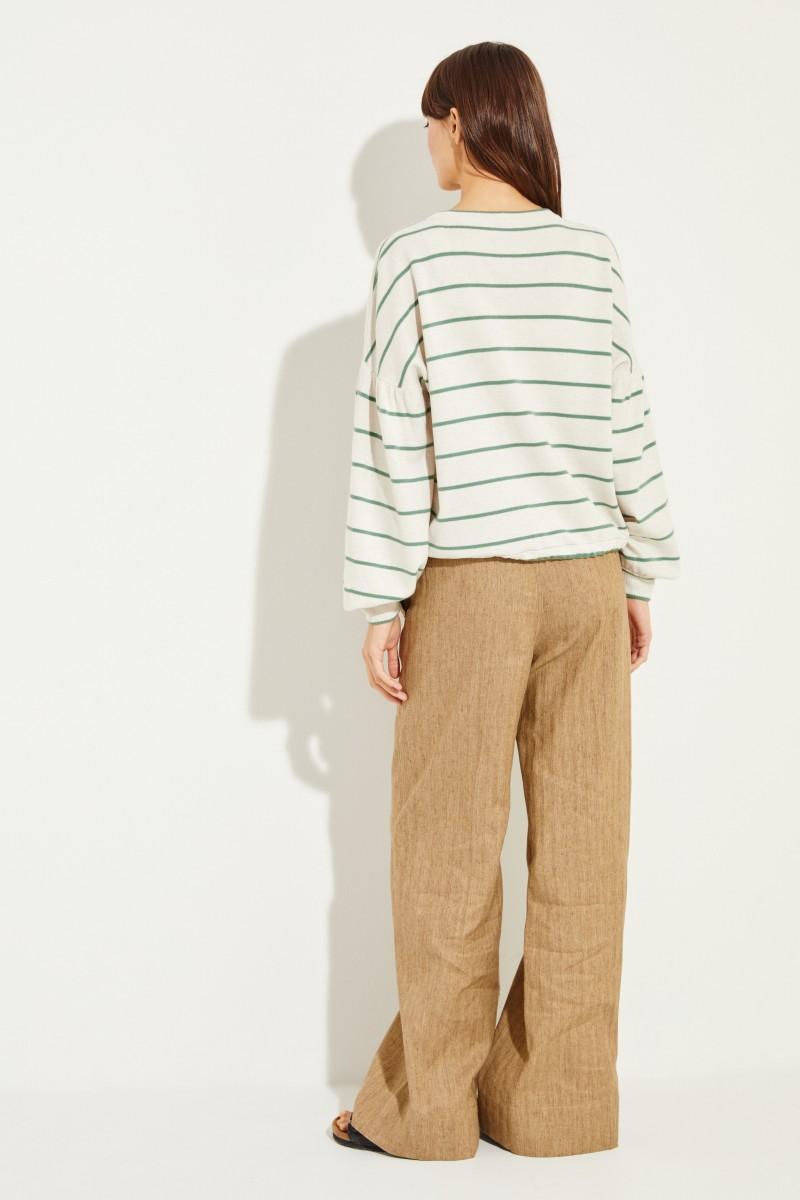 Brunello Cucinelli Woll-Cashmere-Pullover mit Streifen Crème/Grün