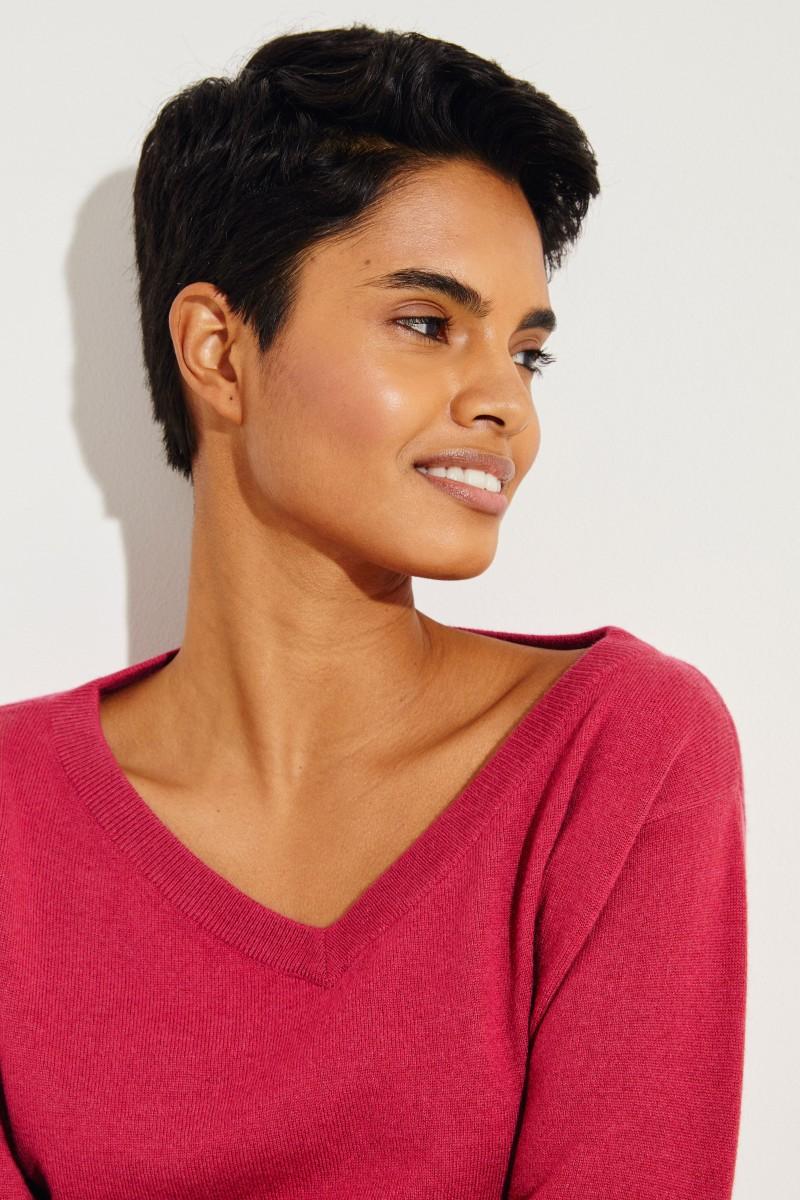 Cashmere-Pullover mit Perlenverzierung Magenta