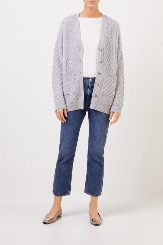 Uzwei Cashmere cardigan with cable stitch Grey